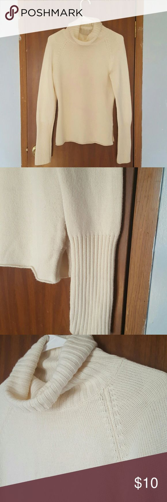 The Limited women's turtleneck sweater Medium Comfortable and cozy Women's turtleneck sweater. 2 small stains on front, hardly noticeable. Stains shown in last picture. Some piling under arms. Size Medium.   52% acrylic 48% Wool The Limited Sweaters Cowl & Turtlenecks
