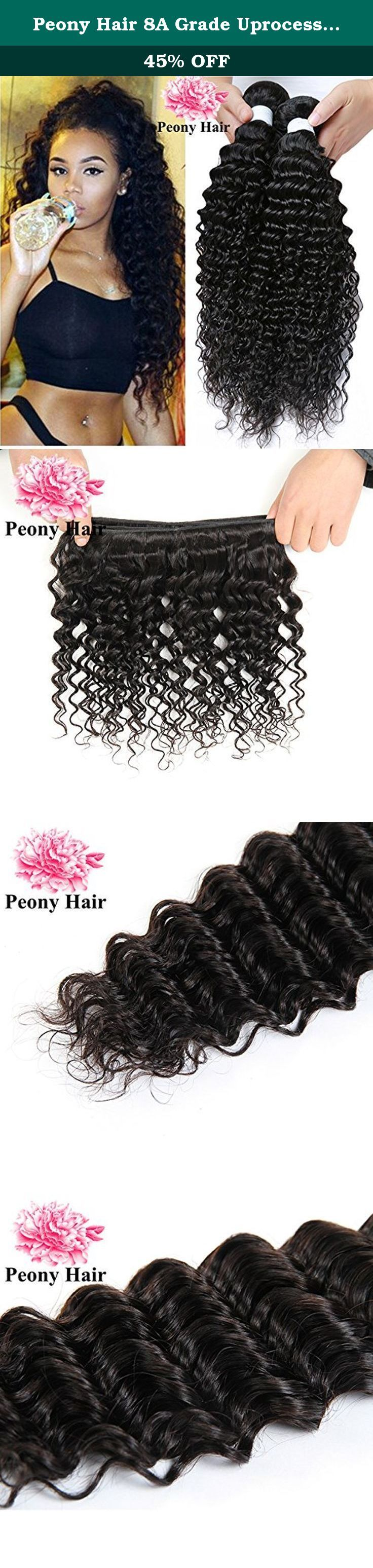 """Peony Hair 8A Grade Uprocessed Brazilian Deep Wave virgin hair 4 Bundles Remy Human Hair Natural Color (18 20 22 24, Natural Color). Every shopper has claimed that they are selling """"virgin hair"""" for $20 a pack...Really??? Are you serious??? if u have ever had any experience with extensions, you must know that you get what you pay for.And we all know how expensive it is to get hair installed...Why not spend an extra dollars and get quality hair that will last. It is very lucky that we…"""