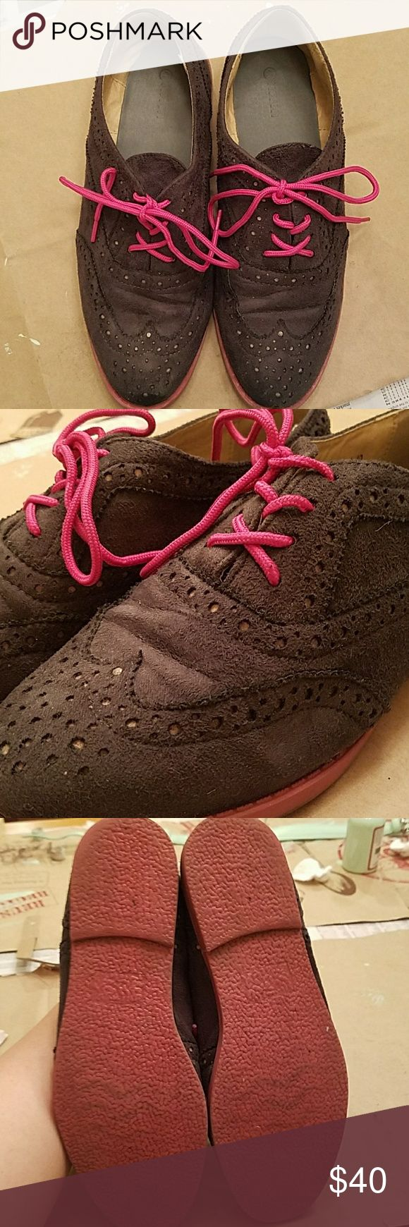 Gray faux suede oxfords with fuschia pink laces Very good condition gray faux suede oxfords with pink laces. EUR size 40 which is approx USA size 9. Worn a couple of times. Never reach for them so like to destash! Shoes