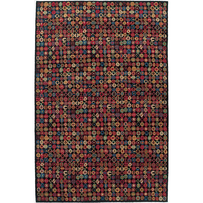 Nepalese Hand Knotted Black Bottle Cap Wool Rug 2 X 3