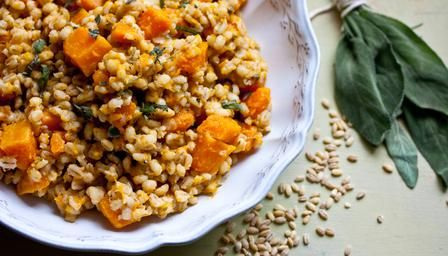 Pearl barley, butternut squash and sage risotto (barley replaces risotto rice).