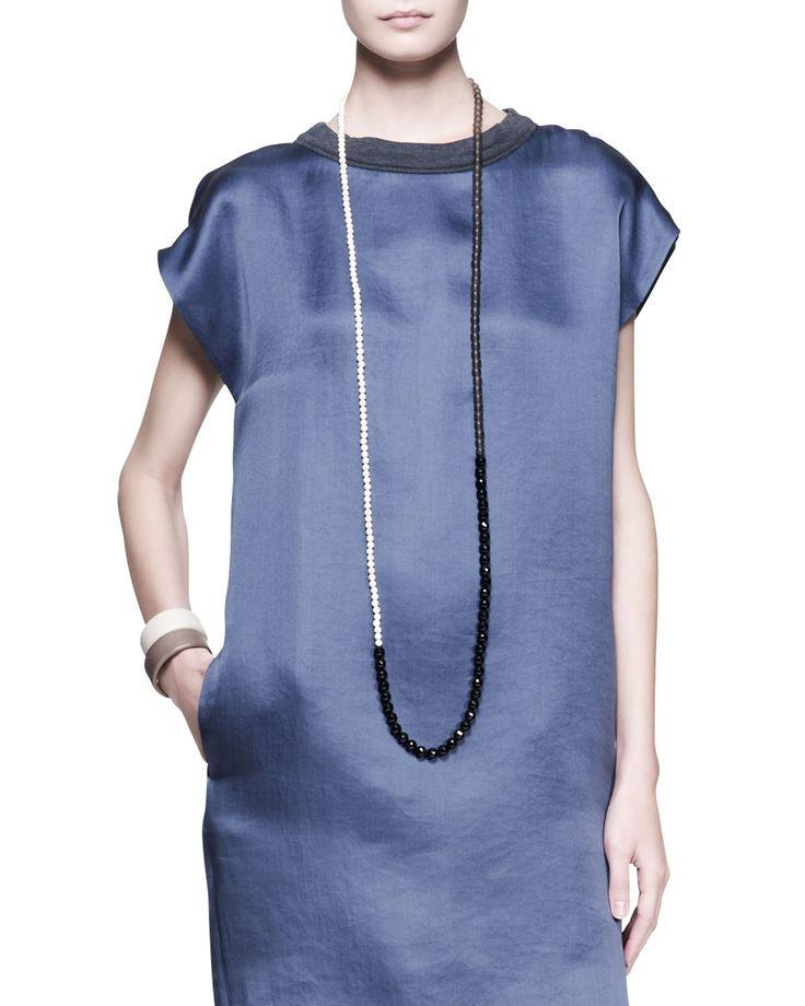 Brunello Cucinelli multi-stone long bead necklace: black agate, river stone, and smoky quartz beads. Resort 2014.