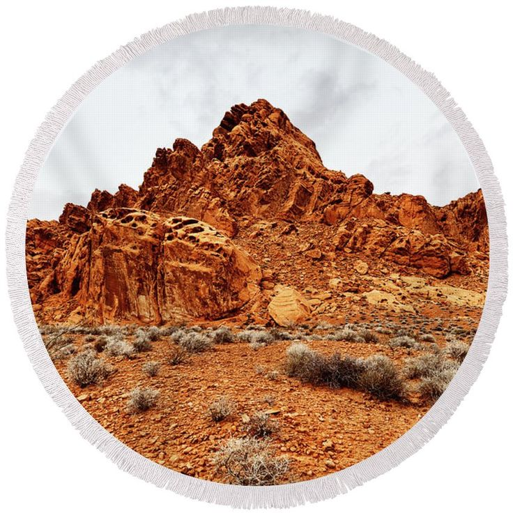 """Round Beach Towel featuring the photograph Fiery Rocks by Evgeniya Lystsova. Scenic Landscape of Rock Formation at Valley of Fire State Park, southern Nevada, USA. The Towel that's taking the internet by storm! Our round beach towels are 60"""" in diameter and made from ultra-soft plush microfiber with a 100% cotton back. Perfect for a day at the beach, a picnic, an outdoor music festival, or just general home decor. SHIPS WITHIN 3-4 business days!"""