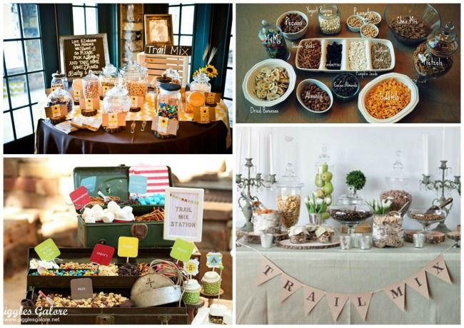 Add a rustic touch to your reception with a make your own trail mix bar.