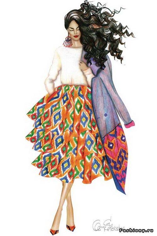 Девушки в адрасе - модные иллюстрации