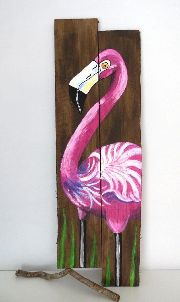 Nyár, Flamingó, festettem, raklap, deszka....Summer, flamingo, painted, pallets