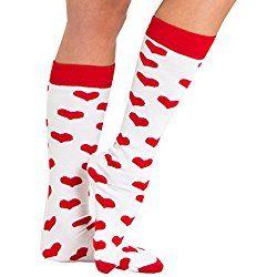 Chrissy's Socks Women's Valentine's DayHeart Knee High Socks 7-11 White / Red