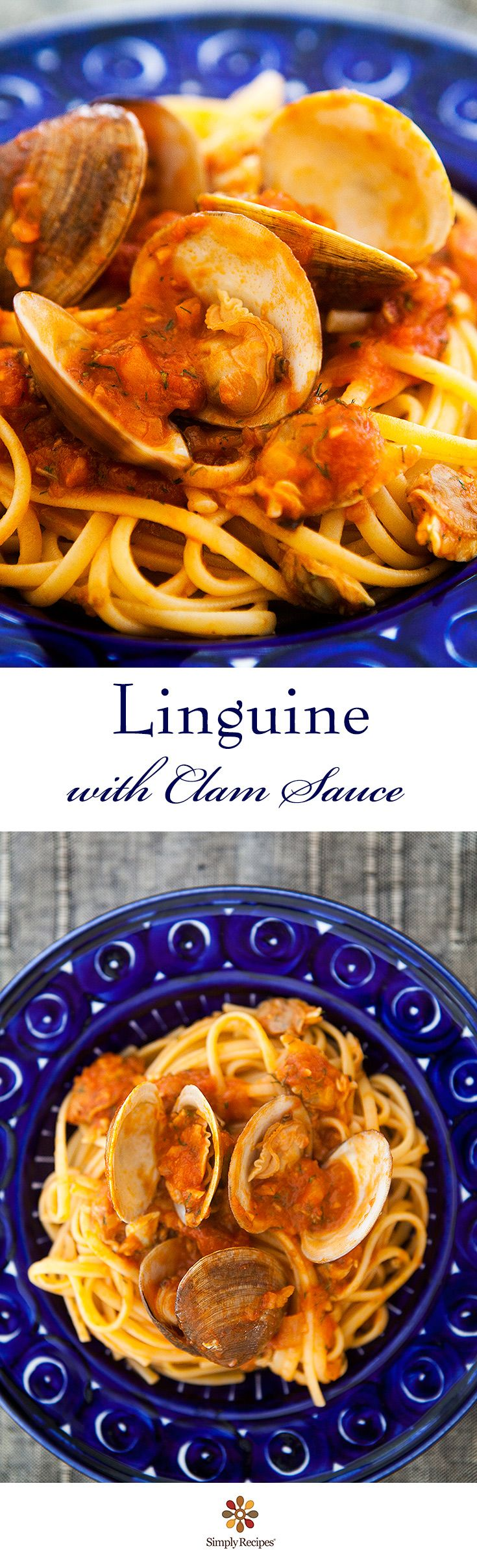 Linguine with Clam Sauce ~ Classic Italian-American linguine with clam sauce with fresh and canned clams, tomatoes and fennel ~ SimplyRecipes.com