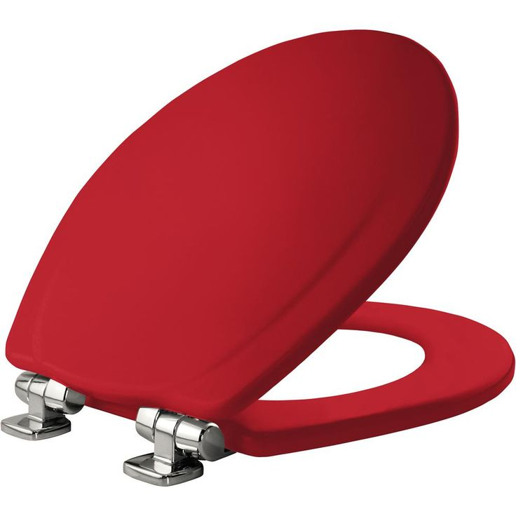 Mayfair Chrome Slow Close Round Closed Front Toilet Seat in Red