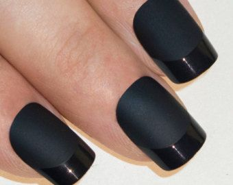 Bling Art False Nails French Manicure Matte Black Full Cover Medium Tips Uk Black Nails French Manicure Manicure