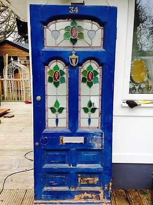 STAINED GLASS FRONT DOOR WOOD RECLAIMED OLD VICTORIAN HERITAGE PERIOD EXTERNAL>>
