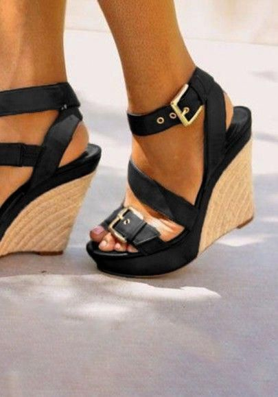 232f2ad30f4 Black Round Toe Wedges Buckle Fashion High-Heeled Sandals  Stilettoheels