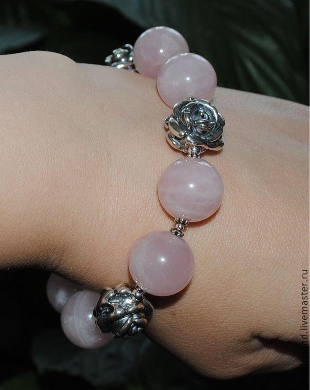 85$ Пыльная роза. Браслет и серьги из серебра и розового кварца. - бледно-розовый, розовый