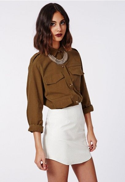 White Hanah Snake Embossed Faux Leather Mini Skirt @ Missguided ...