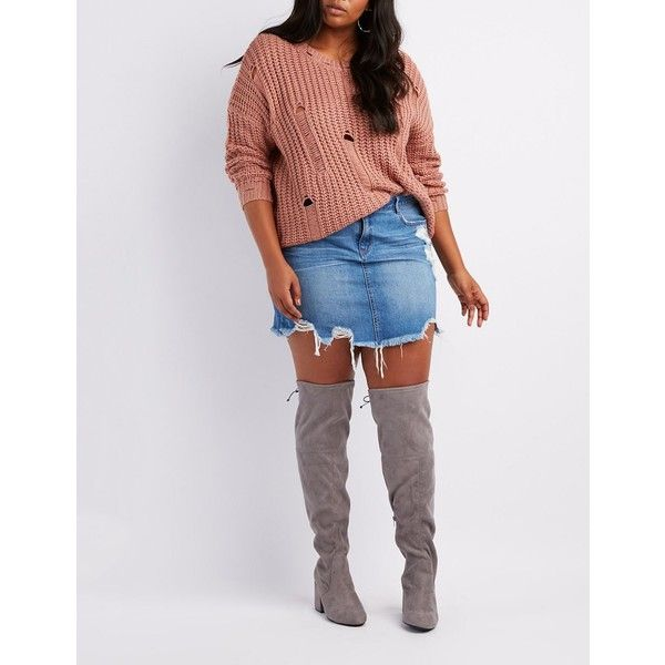 Charlotte Russe Wide Width Over-The-Knee Boots ($20) ❤ liked on Polyvore featuring shoes, boots, grey, wide width over the knee boots, chunky-heel boots, gray over the knee boots, wide thigh high boots and thigh-high boots