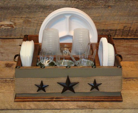 Khaki color with burlap ribbon and metal stars wood utensil tableware caddy organizer for napkins paper plates utensils and more & 61 best Utensil Holders Buffet Holders for Partys and More! images ...