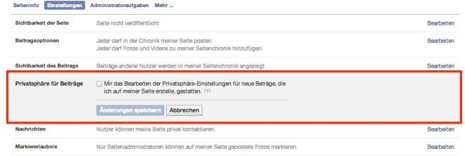 Facebook Pages: Privatsphäre (Standort / Sprache)