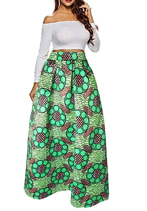 Uideazone Women High Waisted A Line Skirt African Graphic