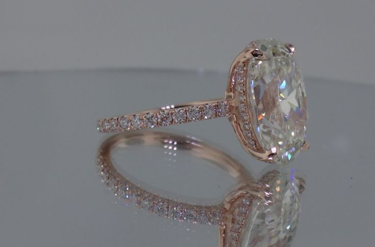 YES! LOVE IT!! WITH 3 ROW BAND!! Josh Levkoff - Collection, Rings - Rose Gold Oval Custom Engagement Ring with MicroPave Diamonds | Josh Levkoff