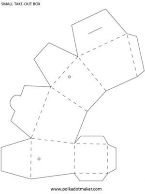 Take Out - Take Away Box Template: This is a small take-out box template, you can enlarge it to A3 with a photocopier for a bigger box.  The small box template is ideal for serving party