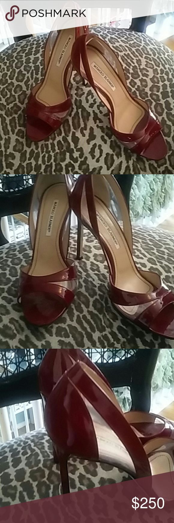 MANOLO BLAHNIK. Ladies shoes These GORGEOUS shoes by MANOLO BLAHNIK are must haves!!!!! Like new worn a few times,Transparent and Cranberry in color 3'heels.Size-38 EURO & 8 US In a smoke free environment !!! Manolo Blahnik Shoes Heels