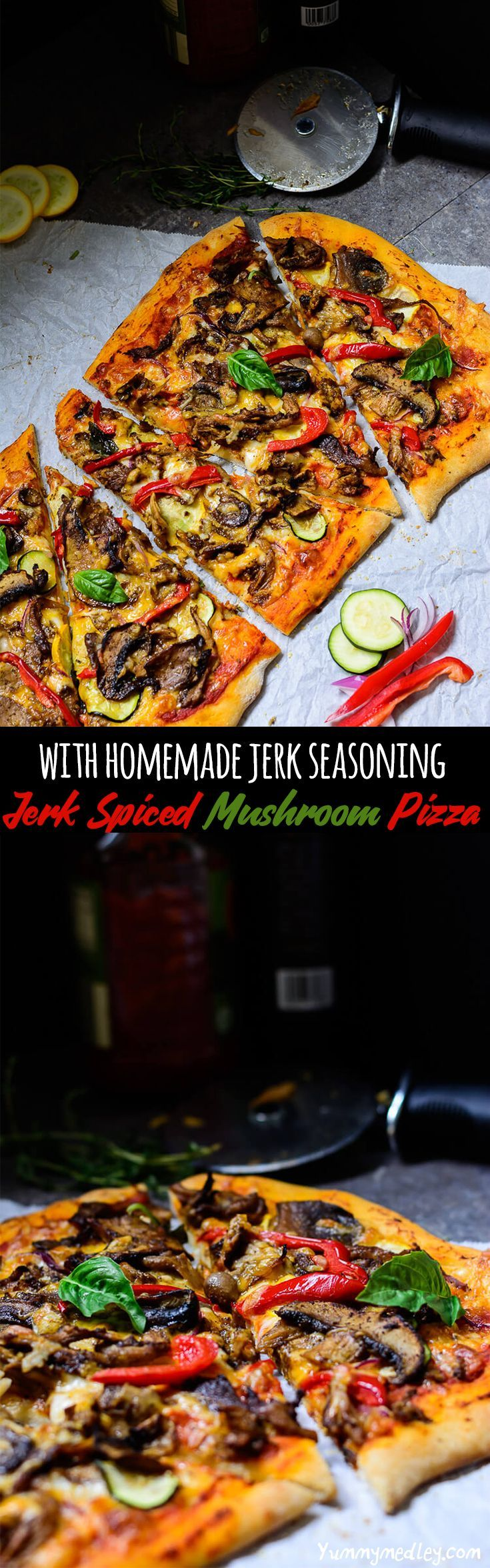 This Jerk Spiced Mushroom Pizza uses amazing flavors of homemade jerk seasoning, combines it with a medley of mushrooms (white button, straw, portabella/portobello and oyster) to produce the best mushroom pizza ever!