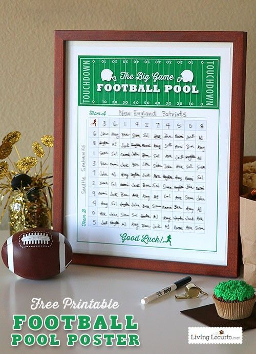 Free Printable Football Squares Pool Poster. Perfect for any game day or Super Bowl party! Livinglocurto.com