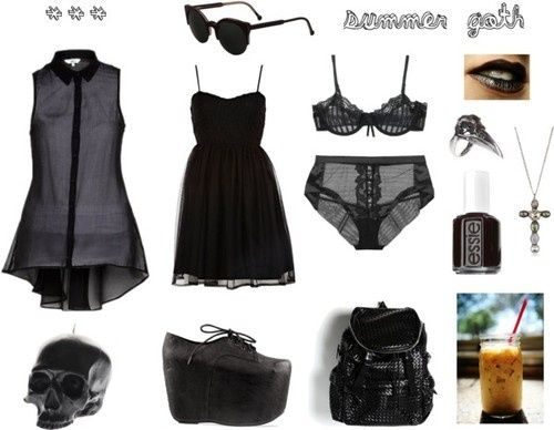 summer goth @mia motiee motiee Amoré Rodriguez    River Island vintage black dress, $47 / La Perla mesh panty / Elle Macpherson Intimates bra / Black Sheer Sleeveless Shirt / Pamela Love skull ring, $1,255 / Liz Palacios silver hair accessory / RetroSuperFuture cat sunglasses, $205 / Black lipstick / Essie nail lacquer / D.L. Momento Mori Large Black Skull Candle, $120 / Substitute Club Kid / Backpack - Black, $115