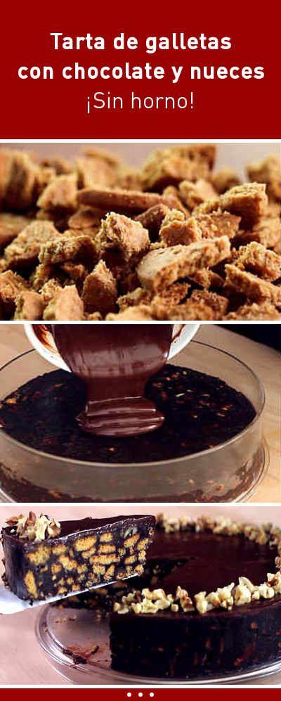 Tarta de galletas con chocolate y nueces. ¡Sin horno!