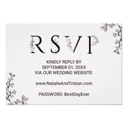 Floral Typography Wedding Website RSVP Card - romantic wedding gifts wedding anniversary marriage party