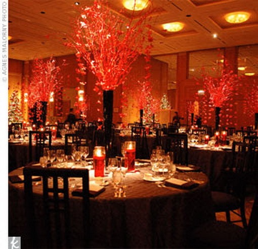 Talk about drama! Utilize decor and lighting for a WOW factor at your reception. #redweddings #weddingdecor