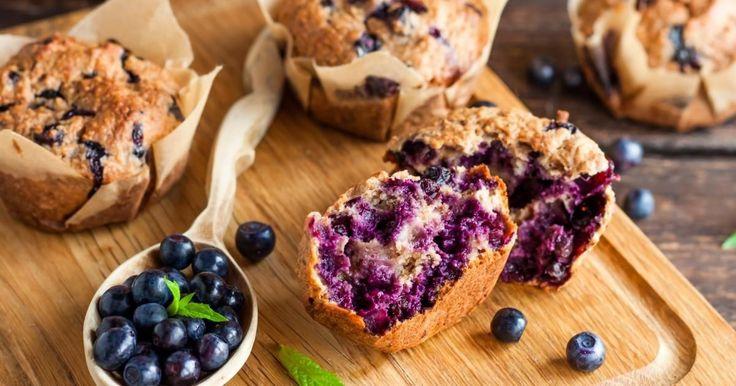 Un muffin aux bleuets SANTÉ... Sans beurre et sans huile, ils vont sustenteront jusqu'au dîner!