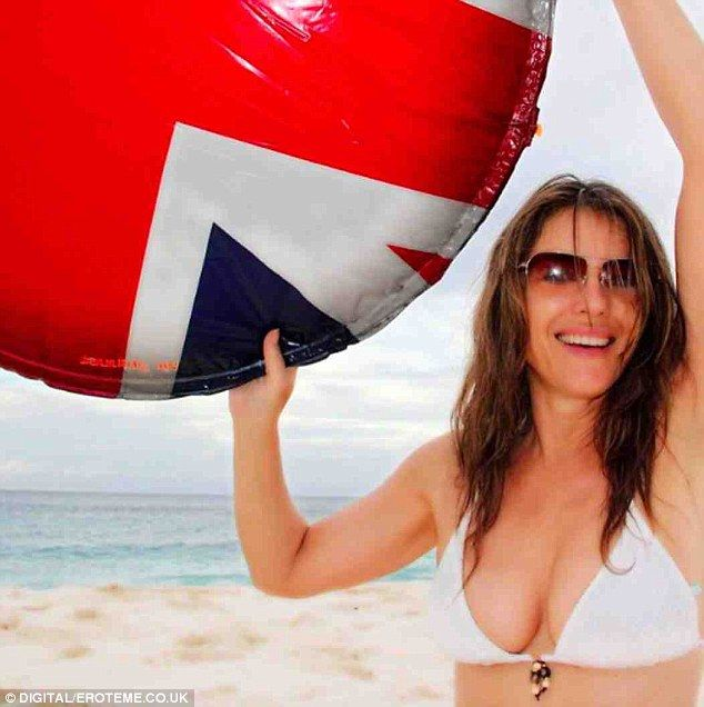 Selfie-esteem: Liz recently shared a youthful beach snap of herself in a white bikini...