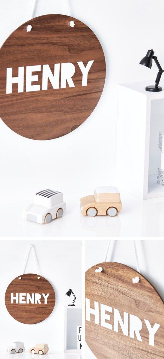 Kinderzimmer Dekoration & Geschenk – Holz Schild mit Namen
