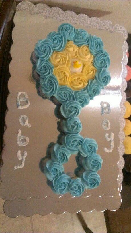 Baby rattle mini cupcake cake!