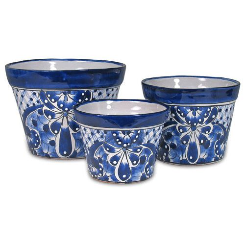 Indeed Decor's Blue & White Mexican flower pots will add a splash of color and warm Mexican culture to your patio.