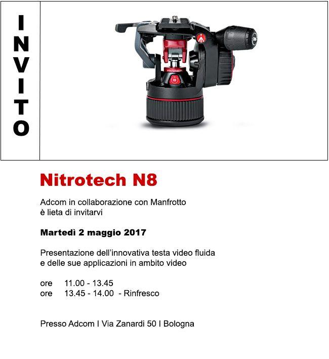 Adcom in collaborazione con Manfrotto è lieta di invitarvi  alla presentazione della nuova testa video fluida Nitrotech N8 Nitrotech N8 è il primo modello nel range di Manfrotto Nitrotech che colpisce al primo sguardo grazie al suo distintivo design. Info ed iscrizioni: goo.gl/BZyLa3