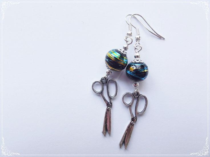 Kolczyki czarne- nożyczki w barbarella na DaWanda.com