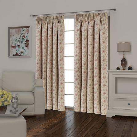 Dunelm Florence Lined Pencil Pleat Curtains in Terracotta Orange (168cm x 137cm)