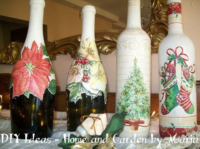 DIY Ideas - Home and Garden by Maria: Decoupage - Ντεκουπάζ με Χριστουγεννιάτικο Σχέδιο σε Μπουκάλια.