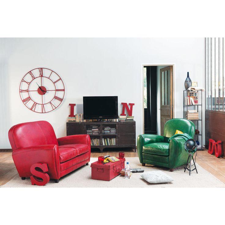 Sofá de 2 plazas fijo de cuero rojo vintage OXFORD