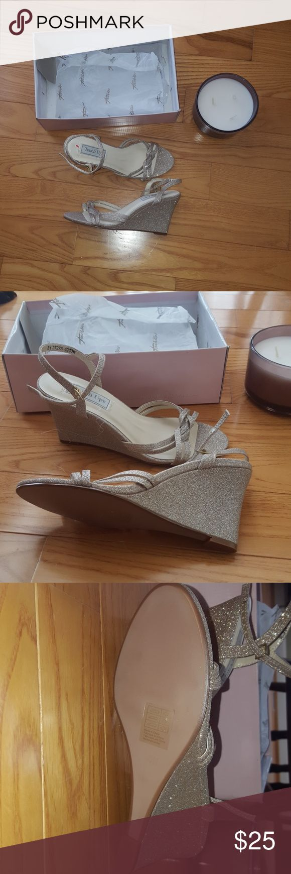 Touch up wedding wedge sandals size 8 Never worn! Brand new. Ended up in flats for my wedding :-) Touch Ups Shoes Wedges