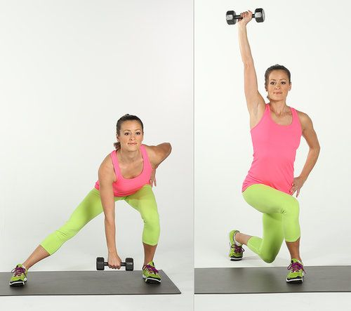 If lunges are new to you, don't add dumbbells to this exercise until you are comfortable with the leg positions:  Source: POPSUGAR Studios
