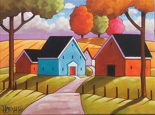Details About 12x16 Farm House Original Modern Folk Art