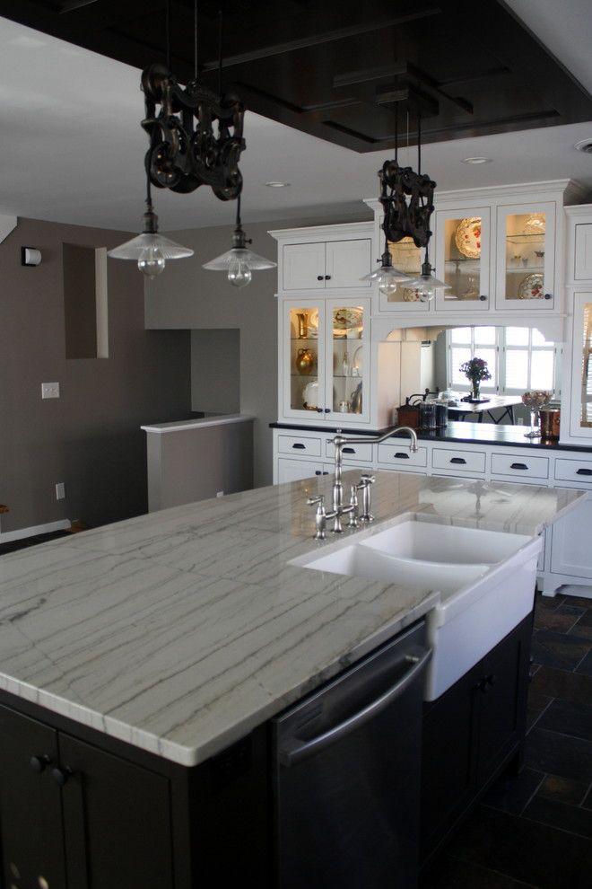 Delightful White Macaubas Quartzite Kitchen Farmhouse With None None