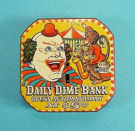 icollect247.com Online Vintage Antiques and Collectables - Registering Daily Dime Bank Tin Lithographed Working 1956