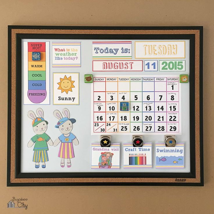 DIY Toddler Calendar with lots of free printables! I created this calendar for my son and it covers days of the week, weather and our daily activities.