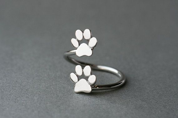 Adjustable Spiral Paw Ring / Double Paw Ring / Silver by HUDOCA