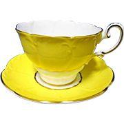 Paragon flower petal texture mold canary yellow Tea cup and saucer, art deco teacup