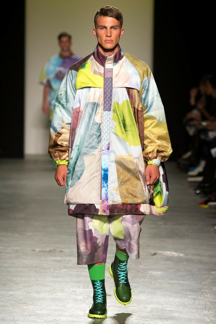 RACHEL JAMES - GRANNY FLOWER MAN POWER Floral printed waterproof coat and leather shorts